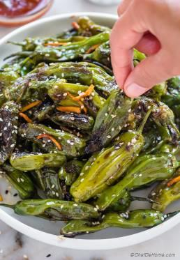 Blistered Shishito Peppers with Dipping Sauce