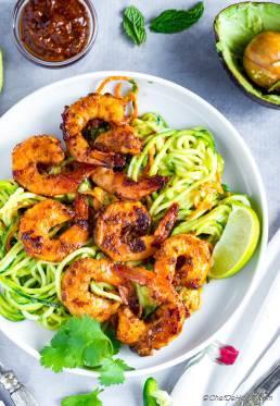 Chipotle Shrimp with Avocado Sauce Zucchini Noodles