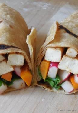 Smoky Tofu and Pickled Radish Breakfast Wrap