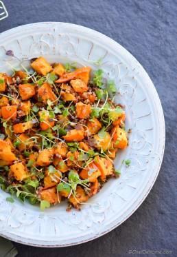 Roasted Acorn Squash, Microgreens and Quinoa Salad