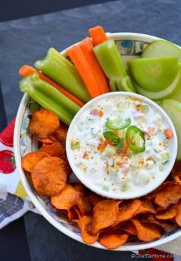 Loaded Raita Dip with Curry Dusted Sweet Potato Chips