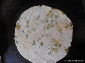 Step for Recipe - Spiced Potatoes and Peas Stuffed Flat Bread with Preserved Lemons