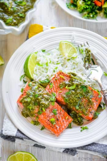 Step for Recipe - Baked Salmon with Salsa Verde