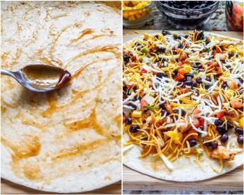 Step for Recipe - Layered Grilled BBQ Chicken Quesadilla
