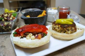 Step for Recipe - The Counter Style, custom built Tofu, Rice and Beans Burger