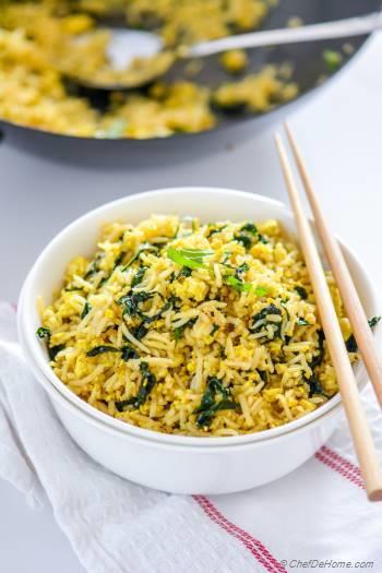 Step for Recipe - Vegan Tofu Scramble Kale Fried Rice