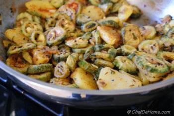 Step for Recipe - Indian Bitter Melon (Karela) and Potato Stir Fry