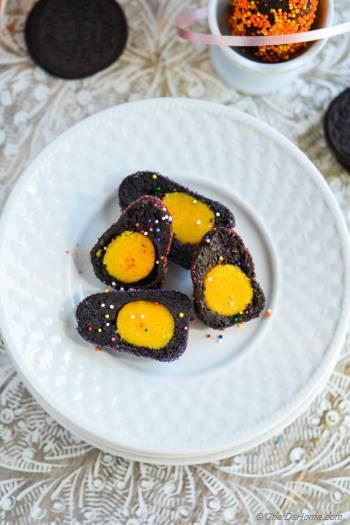 Step for Recipe - Yellow Yolk Oreo Cream Cheese Easter Eggs