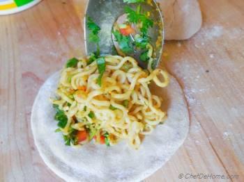 Step for Recipe - Ramen Noodles Stuffed Snack Flat Bread