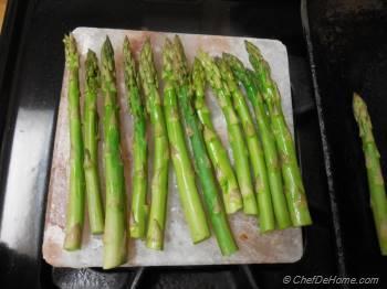 Step for Recipe - Himalayan Salt Block Cooked Lamb and Asparagus