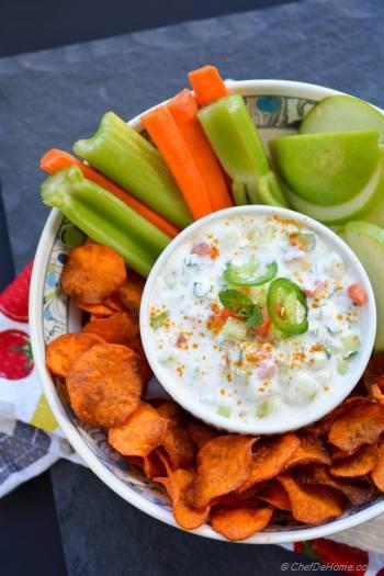 Step for Recipe - Loaded Raita Dip with Curry Dusted Sweet Potato Chips