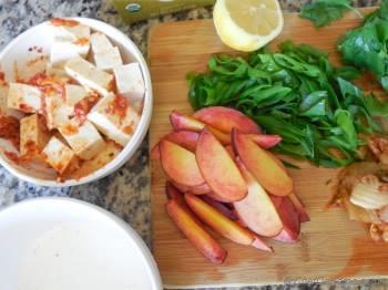 Step for Recipe - Crunchy Garlic Tofu Wraps with Peach and Kimchi Slaw
