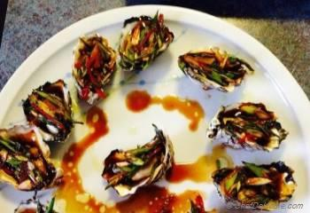 Step for Recipe - Baked Oysters with Garlicky, Sweet and Sour Scallion Sauce