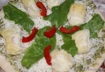 Step for Recipe - Rustic Spinach, Artichokes and Basil Pesto Pizza
