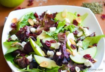 Step for Recipe - Apple and Goat Cheese Salad with White Balsamic-Herb Dressing | Boudin Bakery Copycat