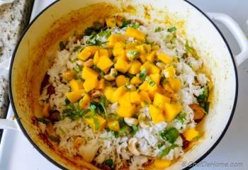 Step for Recipe - Coconut Cashew Curry Chicken and Rice with Mango