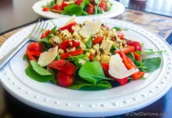 Step for Recipe - Watercress with Roasted Peppers and Corn Salad