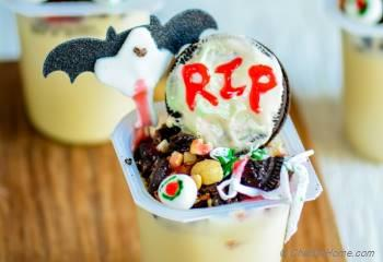 Step for Recipe - Witch House in Graveyard - Halloween Pudding Cups