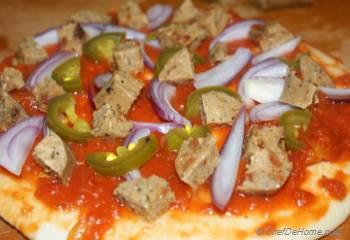 Step for Recipe - Spicy Soy Sausage and Pickled Jalapeno Pizza