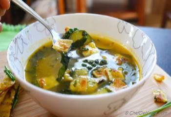 Step for Recipe - Kale and Zucchini Summer Soup with Chive Frittatine Croutons