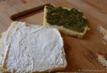 Step for Recipe - Pesto and Cream Cheese Sandwich