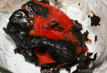 Step for Recipe - Roasted Bell Peppers and Goat Cheese Spread