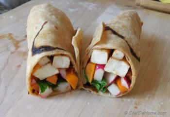 Step for Recipe - Smoky Tofu and Pickled Radish Breakfast Wrap