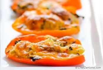 Step for Recipe - Leftover Stuffing Stuffed Sweet Peppers with Two Kinds Buttermilk Dips