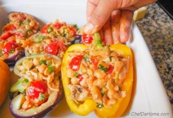 Step for Recipe - Chipotle Chicken and Chickpea Stuffed Heirloom Peppers
