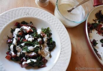 Step for Recipe - Warm Swiss Chard Salad with Peppery Dressing