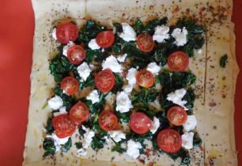 Step for Recipe - Cherry Tomato, Goat Cheese and Spinach Puff Pastry Tarts