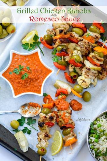 Grilled Chicken Kabobs with Romesco Sauce - Mother's Day Special