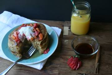 Fluffy Multigrain Pancakes with Strawberry-Peach Compote