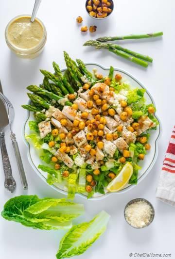Chicken Caesar Salad with Asparagus