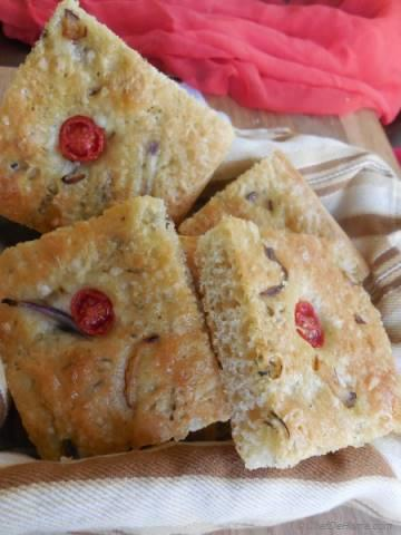 Onion and Cherry Tomato Focaccia