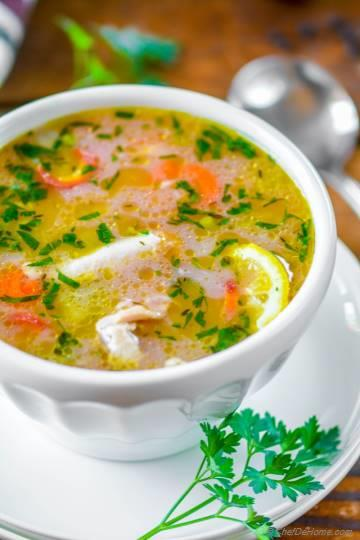 Lemon Chicken Rice Soup in Pressure Cooker