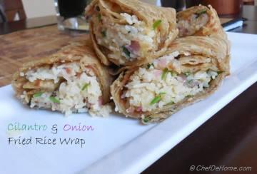 Cilantro and Onion Fried Rice Wrap