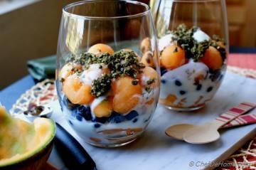 Melon, Blueberry and Yogurt Parfait with Hemp Cereal