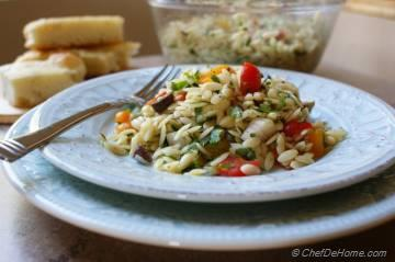 Lemon Orzo Pasta Salad with Olives and Tomatoes