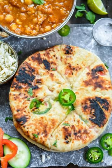 Indian Paneer Stuffed Naan | Chili Paneer Naan