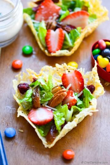 Brunch Salad in Parmesan Heart Cups with Chipotle-Sour Cream Dressing