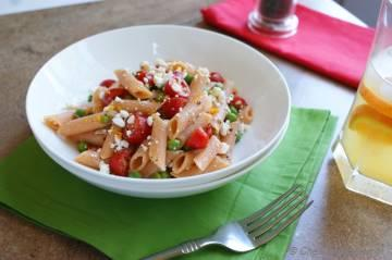 Summer Pasta Salad with Tomato, Feta and Orange Dressing