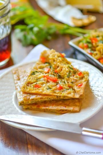 Ramen Noodles Stuffed Snack Flat Bread