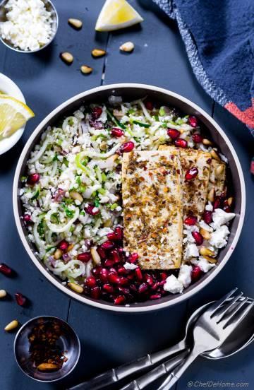 Cauliflower Tabouli Salad with Tofu Souvlaki