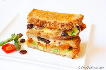 Cranberries, Asparagus and Pickled Jalapeno Grilled Cheese Sandwich