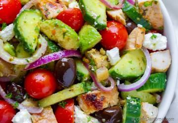 Greek Chicken Cucumber Avocado Salad