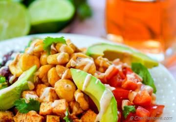 BBQ Tofu Fiesta Salad with Tangy Lime-Cream Dressing