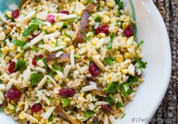 Brown Rice Salad with Mushroom and Lemony Dressing