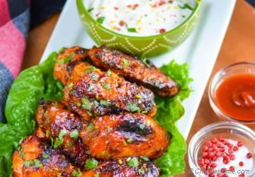 Honey Tangerine Buffalo Chicken Wings with Yogurt Ranch Dip