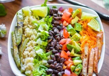 8 Layers Fried Black Beans and Quinoa Burrito Bowl